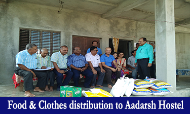 food and clothes distribution to aadarsh hostel