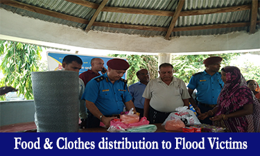 food and clothes distribution to flood victims